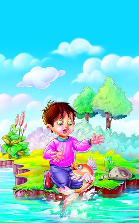 rhyme: Rhyme One Two Three Four Five Boy enjoying with fish