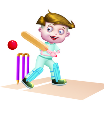 playmates: Boy Playing Cricket