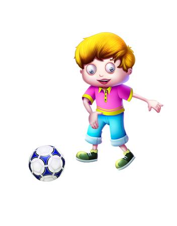 kiddish: Boy Playing Football Stock Photo
