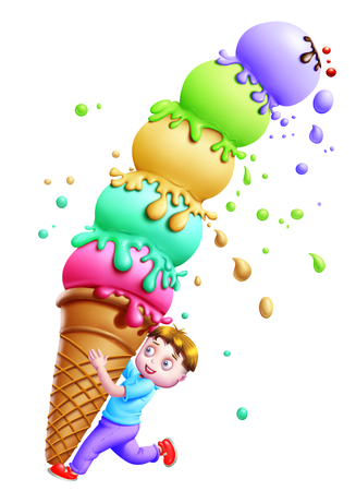 sweettooth: A boy balancing the ice-cream scoops