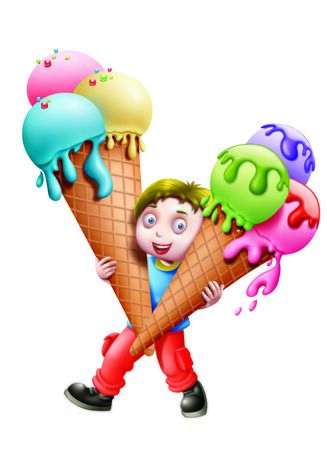 craving: A boy Holding Two Ice Cream Cones