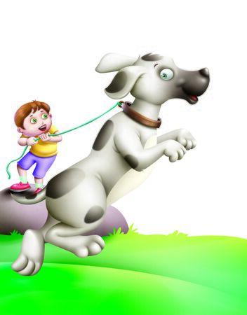 A Boy Holding a Dog Stock Photo
