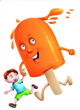 refrigerate: A boy holding hands and running with an ice-cream