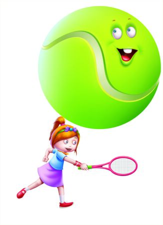 A girl playing tennis with a big tennis ball