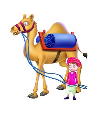 A boy with a camel