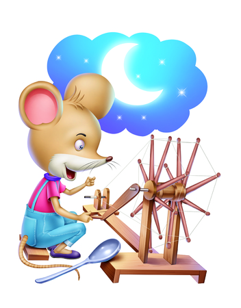 spinning: Rat with Spinning wheel Stock Photo