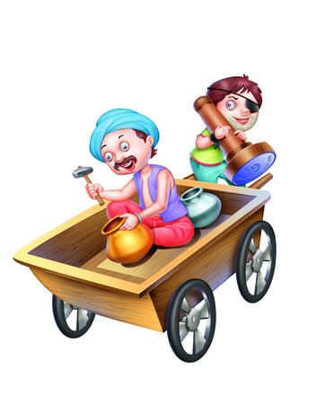 village man: A Blind Man Holding a Cart