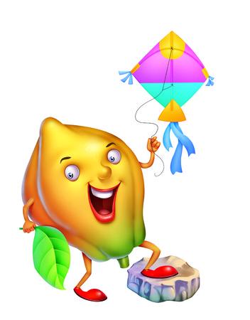 frutas divertidas: Mango que vuela una cometa