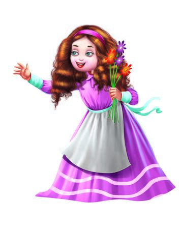 Girl carries flowers