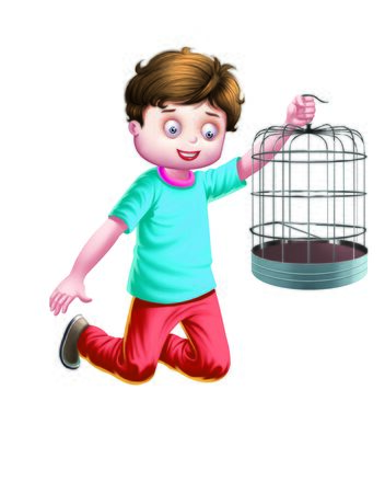holds: Boy holds a cage Stock Photo