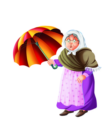 octogenarian: Old lady holds an umbrella