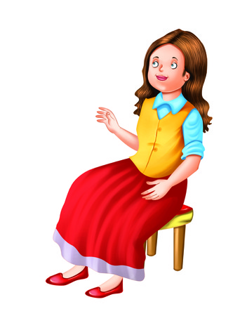 A girl sits on a stool
