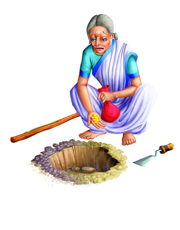 Old lady hiding his money in a pit