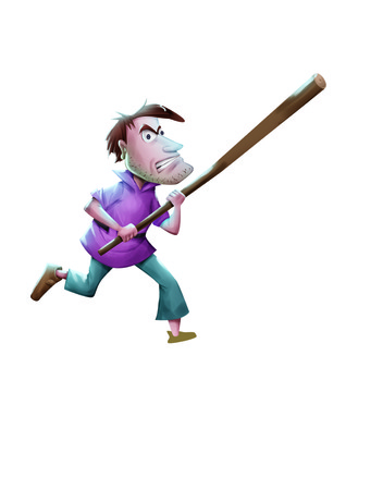 fullbody: Man runs with a wooden rod holding