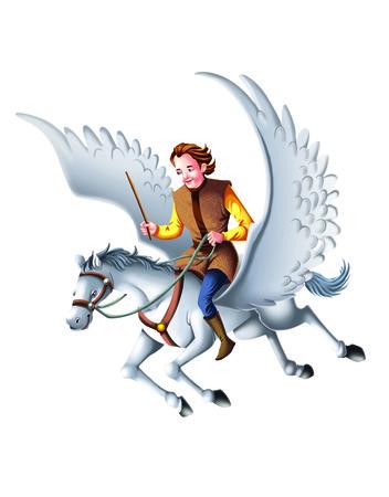 flying man: Man on rides on flying white horse stallion Stock Photo