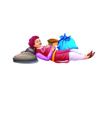 lie down: Man sleeps near a bag