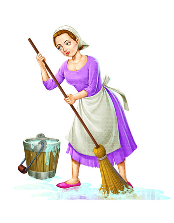 servant: Servant lady washes floor with water