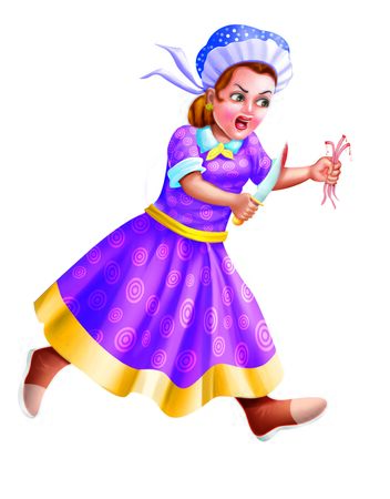 A Lady runs with a knife