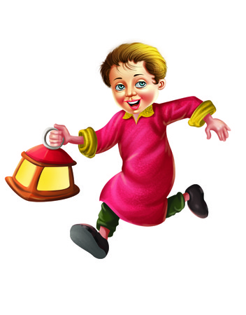 Boy running with a lantern Stock Photo