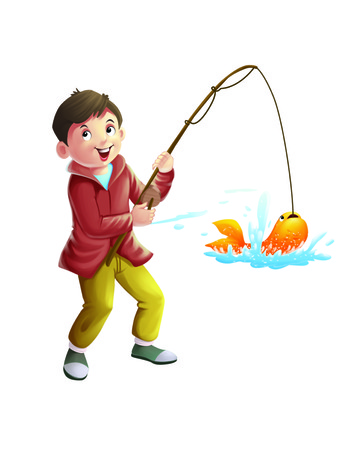 child tongue: A fishing boy Stock Photo