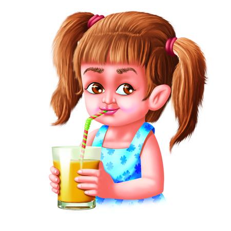mango juice: Girl drinks mango juice