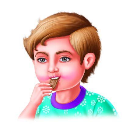 eats: Boy eats biscuit