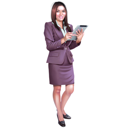 smilling: Young pretty business women attractive using a tablet smilling standing positive dress suit on white background