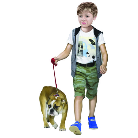dog walking: Boy