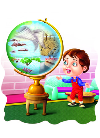 Boy near a globe with natural disaster Stock Photo