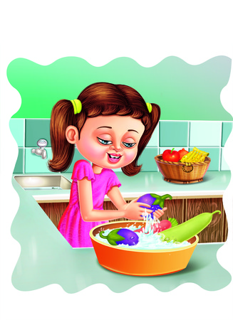 cleaning kitchen: Girl washing vegetables Stock Photo