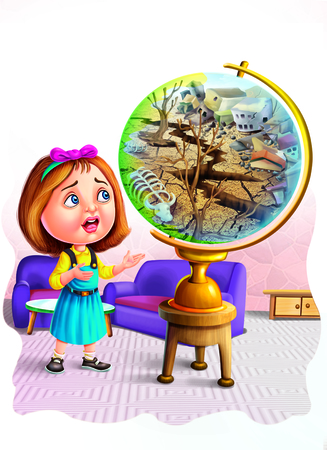 Girl near a globe with drought