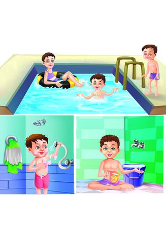 bathe mug: Boys baths in pool and in bathroom