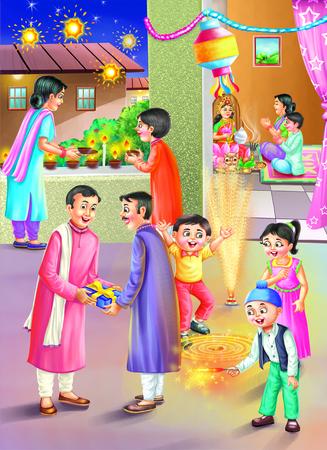 frill: People and kids celebrating Diwali