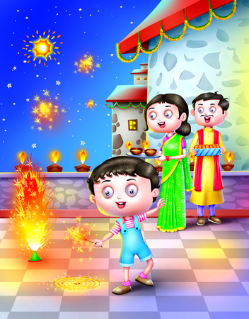 a frill: A family celebrate Indian festival Diwali Stock Photo