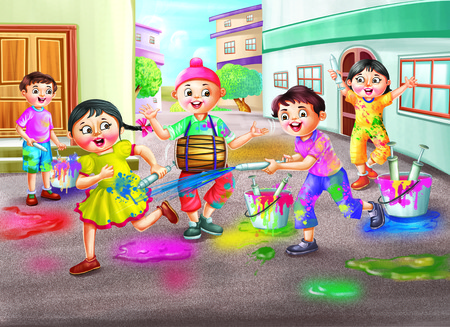 children studying: Boy and girl playing Indian festival Holi