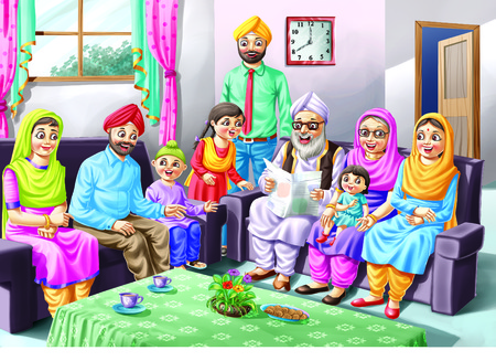 sikh: A Sikh family sits on a sofa Stock Photo