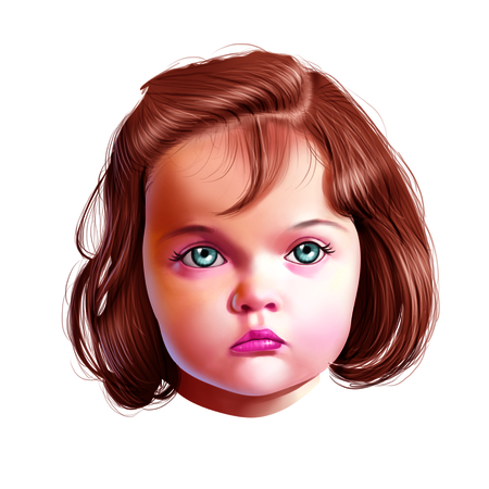 eye brow: Face of young girl
