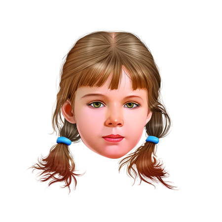 light brown hair: Face of young girl