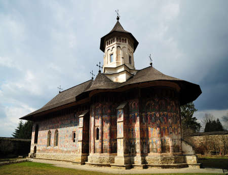 Monastery of Moldovita is one of the oldest orthodox christian monastery made by stone. Is located in the Bucovina region in the North part of the Romania. Stock Photo