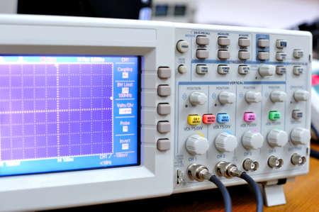 Oscilloscope lcd display. Stock Photo