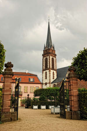 German catholic church. Exterior architecture of St. Elisabeth catholic church in Darmstadt city from Germany. Stock Photo
