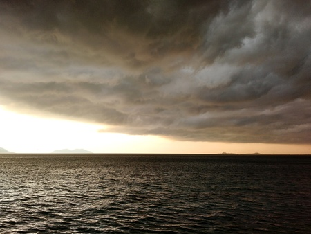 Storm clouds gathering over the Adriatic sea, Vlora, Albania
