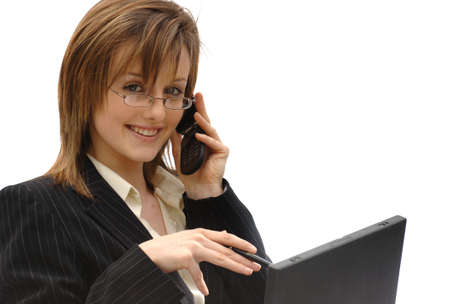 telephonist: Marketing Secretary  Telephonist on Mobile Stock Photo