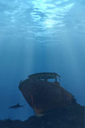 sunk: Deep wreck with shark looming