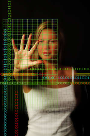 Binary Girl with coded grid photo
