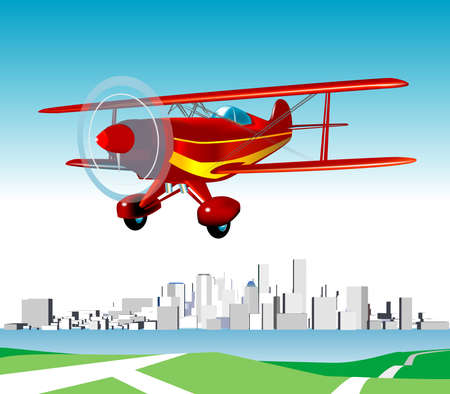 Pitts Special Aerobatic Aeroplane Landing with Large City View in the background Stock Vector - 3173828