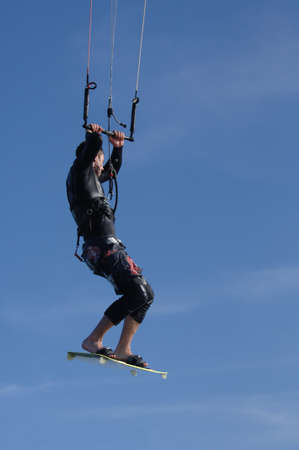 blackrock: Kitesurfing off the coast of Blackrock, Co. Dublin Stock Photo