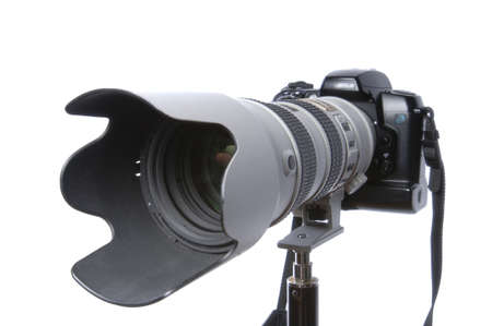 Zoom Lens & Digital Camera on white photo