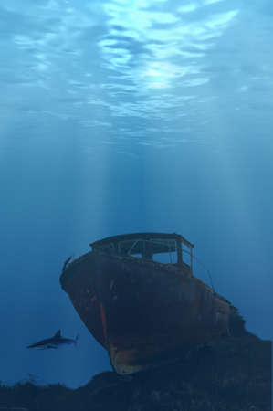 ship wreck: Deep wreck with shark looming
