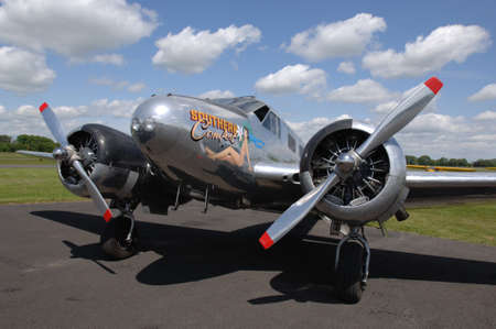 eisenhower: Beech 18, vintage aircraft belonging to ex-president Eisenhower and flown by Paul Tibbet of Enola Gay, WWII. Stock Photo